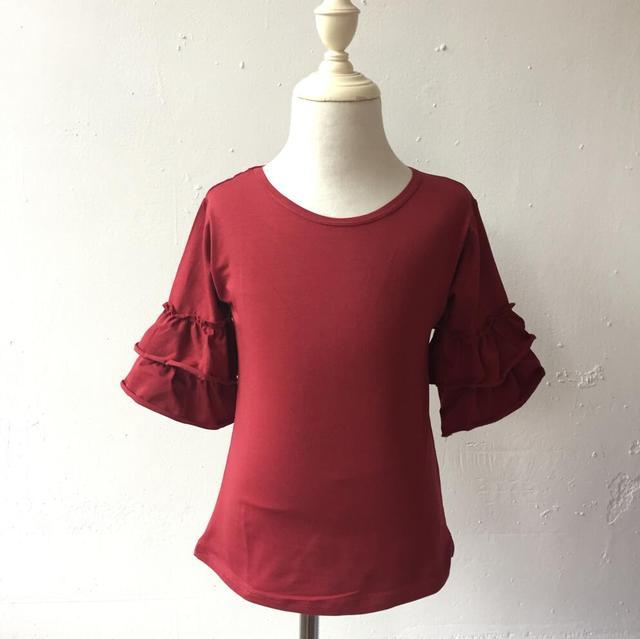 06f54508c Cute Girls boutique clothing baby girls top design ruffle sleeve multi  color USA apparel shirt hot summer wear shirts