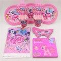 12 personas utilizan my little pony girls decoraciones de fiesta de cumpleaños vajilla desechable servilletas tazas de baby shower favors 69 Unids