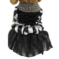 Lujo Vestido de novia Para Mascotas Gato perro vestido de la falda negro y blanco Terciopelo Para Mascotas perro vestido de ropa de Fiesta para el Pequeño Perro Pet