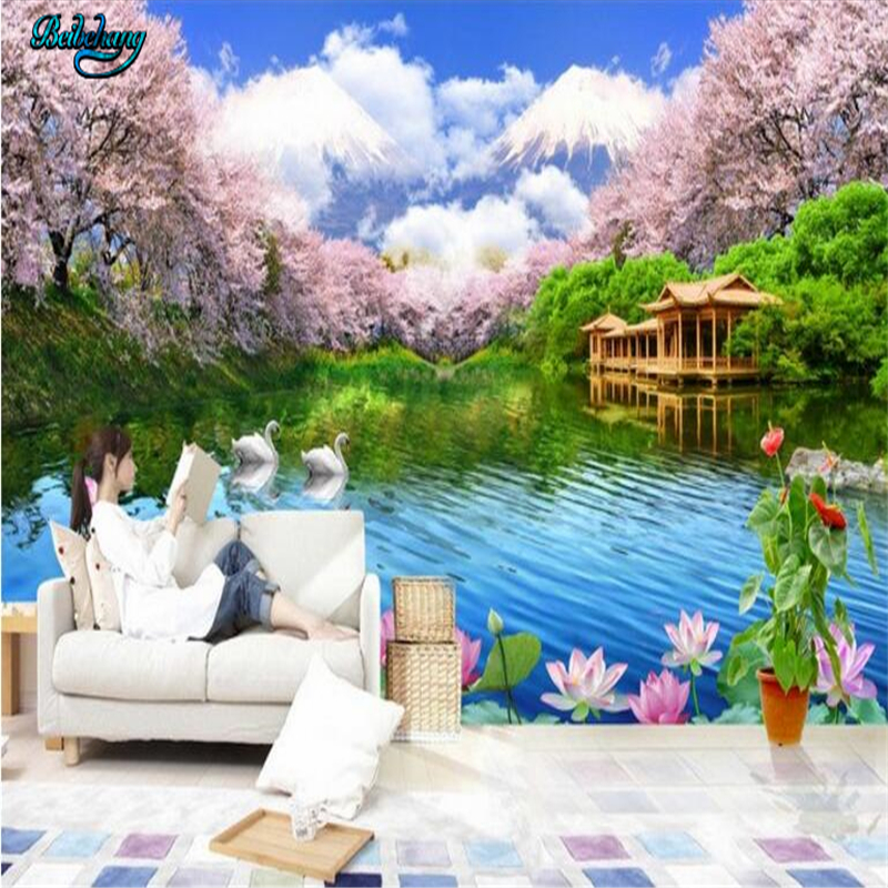 Beibehang Very Beautiful High Definition Cherry Lounge TV Background Wall  Living Room Sofa Fresco Custom In Wallpapers From Home Improvement On ...
