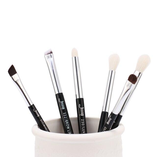 Jessup Black/Silver Professional Makeup Brushes Set Make up Brush Beauty Tools kit Eye Shader Liner natural-synthetic hair 4