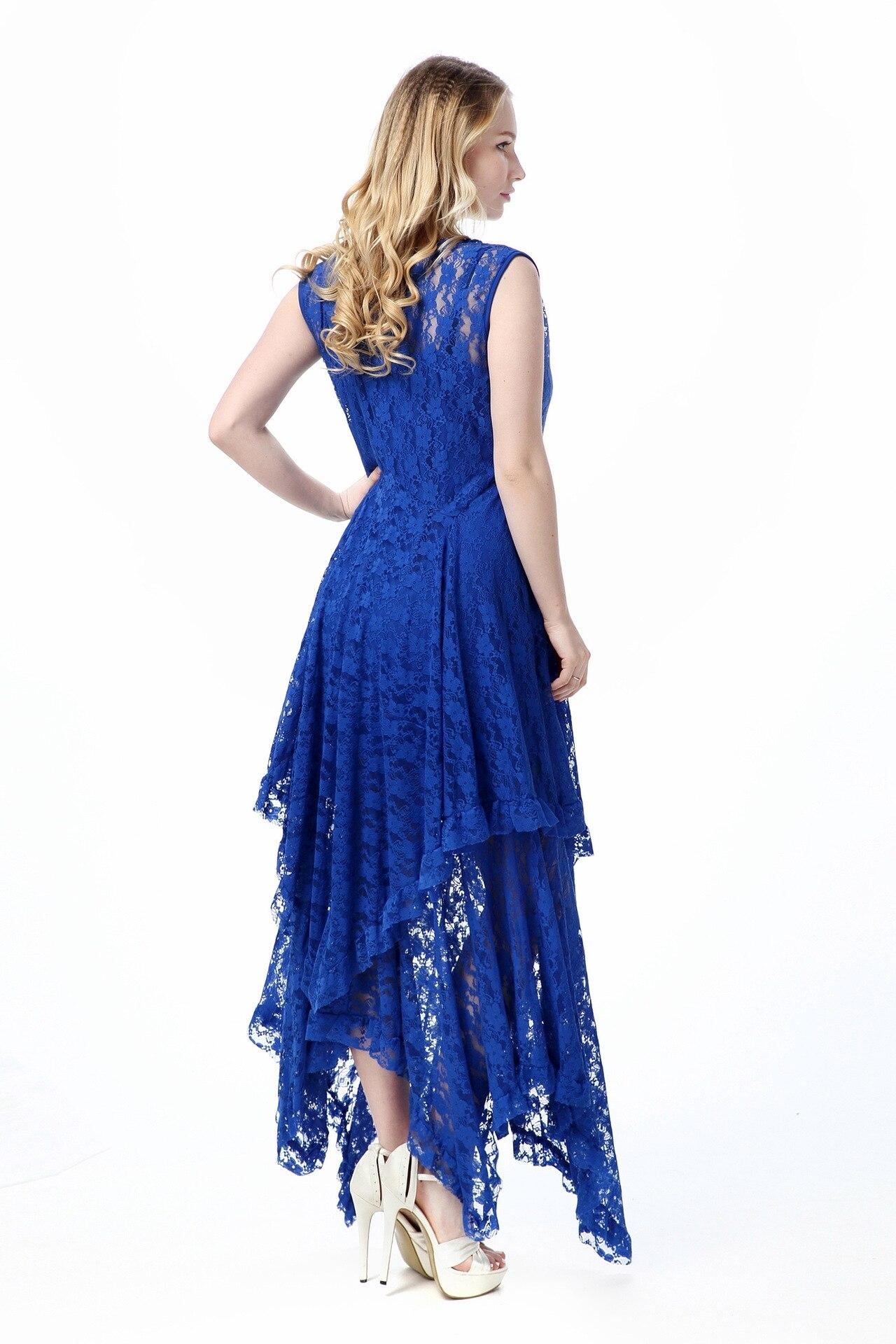 Sexy longue dentelle robe femmes robes 2019 été deux pièces ensemble grande taille 6XL 5XL 4XL bleu noir robe de soirée femme CM126 - 5
