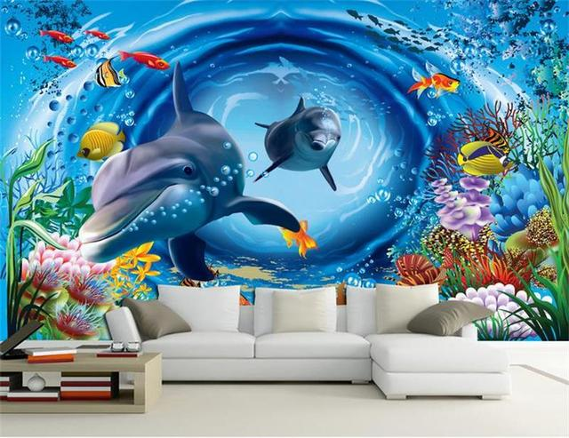 3d Room Wallpaper Custom Non Woven Murals Underwater World Cartoon