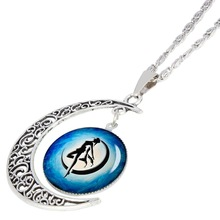 new crescent beautiful girl necklace half moon Sailor Moon lucky amulet dance hollow love pendant jewelry