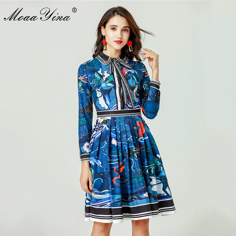 down Moaayina Manches Femmes Robes Piste Col Slim Designer Bleu Imprimé Longues Perles Robe À Turn Abstrait Fashion Printemps rxwqv0FrX