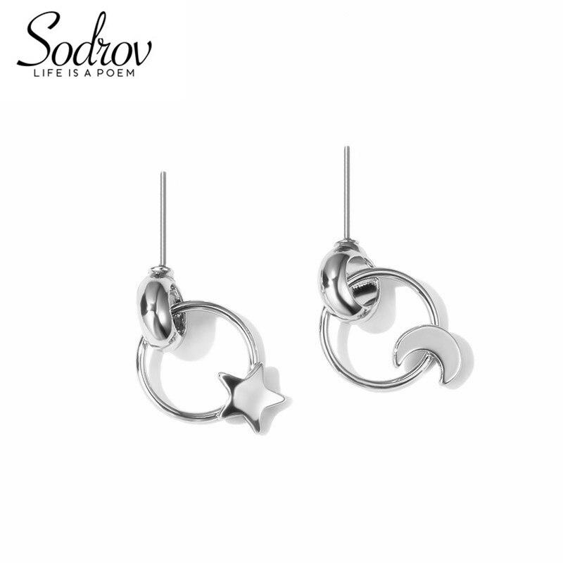 SODROV 925 Sterling Silver Moon&Star Stud Earring For Women Fine Party Jewelry HE048