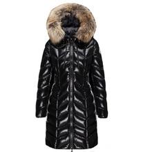 Big Star Winter Black Coat Women Fashion 90% White Duck Down Jacket Raccoon Fur Collar Thick Slim Long Windproof Outerwear PJ346 стоимость
