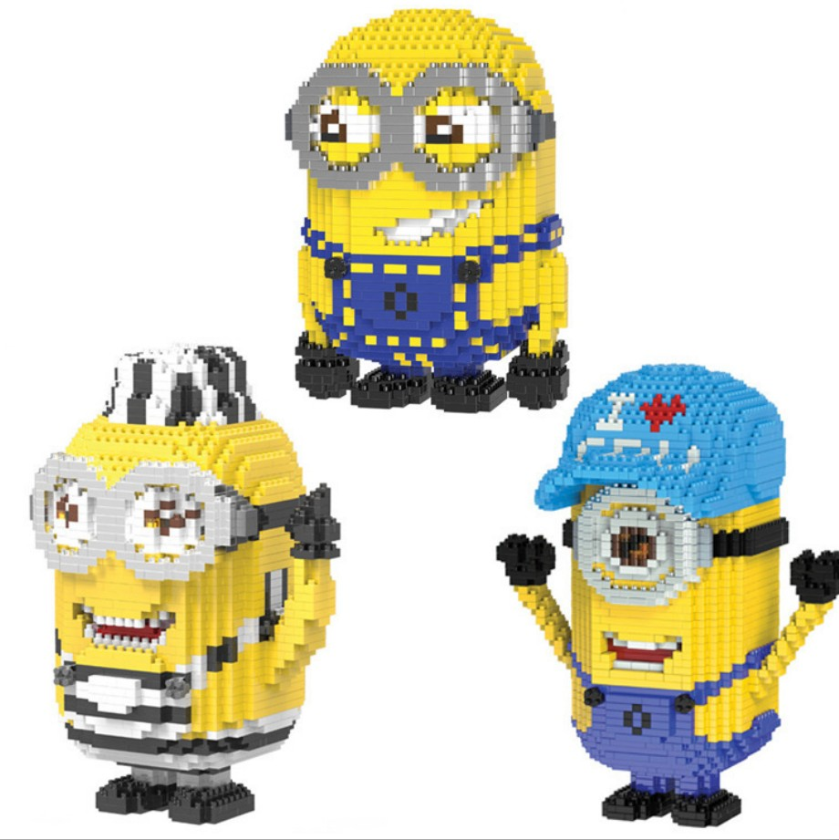 Hot America cartoon figures minion micro diamond building block John Bob Dave bricks nanoblock diy model toys for kids gifts цена