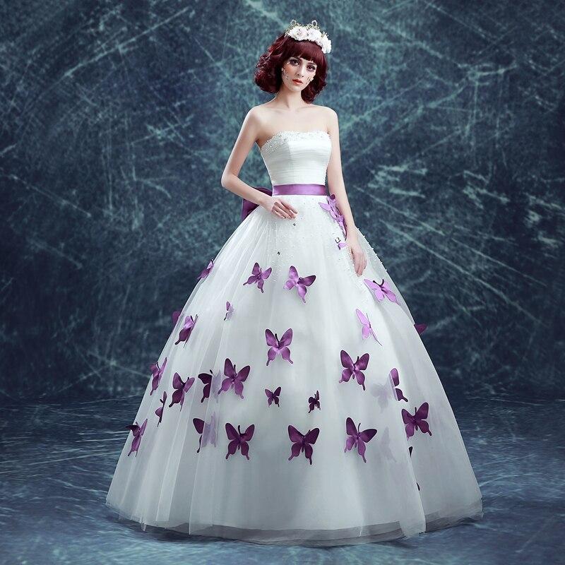 2017 Strapless Sleeveless Pearl Purple Erfly Sweet Princess