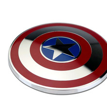 6Cm 3D Logam Krom Captain America Shield Badge Emblem Stiker Motor Mobil Film Hero Avenger Marvel Dekorasi Auto Logo(China)