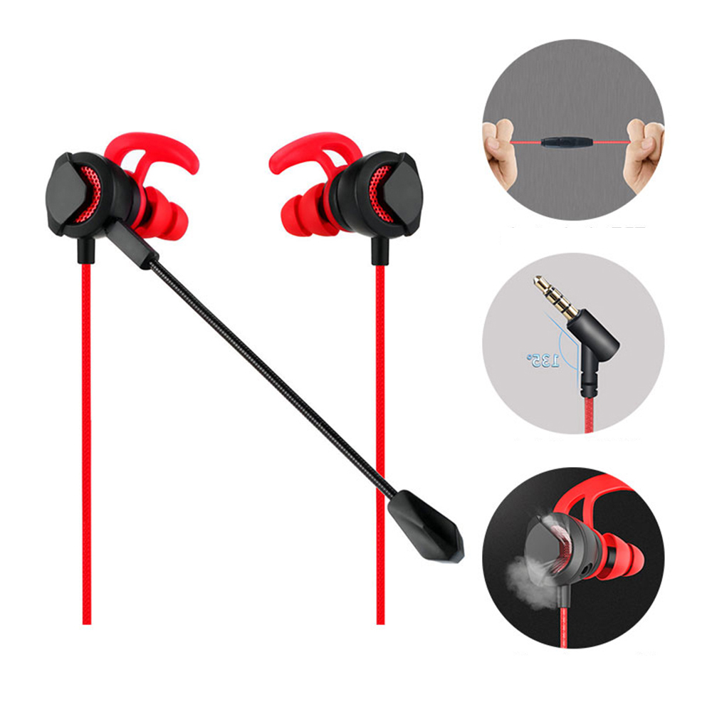 Gaming Earbuds with Detachable Mic Noise Cancelling in-Ear Stereo Earphones for PS4 Xbox One Nintendo Switch Desktop Phone