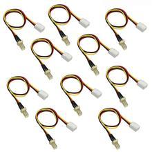10 sztuk 26cm opornik wentylatora kabel 12V 3 Pin męski na 3 pin kobieta wentylator do komputera rozszerzenie mocy wydłużyć przewód bezprzewodowy dostęp kabel dla wentylatora chłodzącego