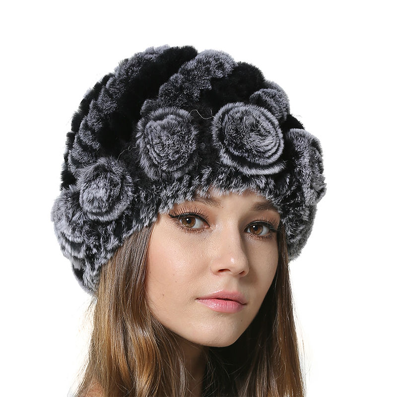 2017 New Rex Rabbit Fur Beanies for Womens Winter Female Caps Knitted Real Fur Hats with Flower Design AU00946