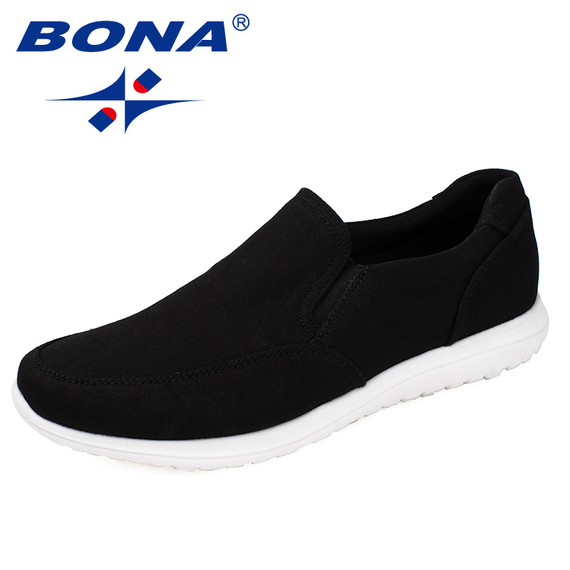 BONA New Typical Style Men Canvas Shoes With Elastic Band Men Footwear EVA Outsole Comfortable Shoes Light Fast Free Shipping leisure men s canvas shoes with elastic and cartoon pattern design