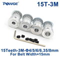 Синхронный ролик POWGE HTD 3M с 15 зубцами  диаметр отверстия 4/5/6/6.35/8 мм для ширины 15 мм  HTD3M ремень ГРМ  Колесо 15 зубцов