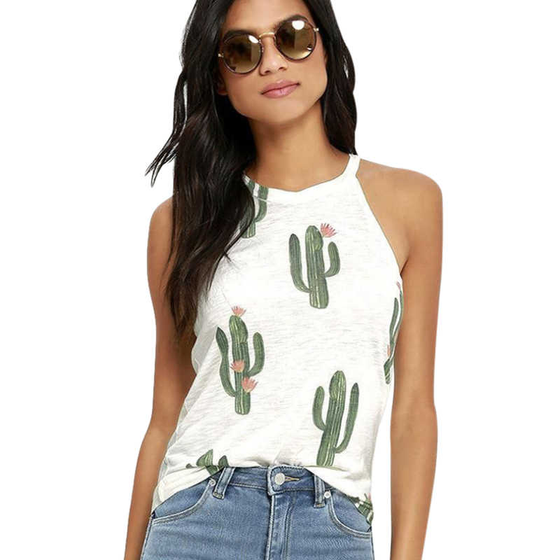 Casual Ladies Tank Tops Fashion Sleeveless Round Neck Cactus Black Print Vest Tops Womens Sexy White Loose T-shirt Femme Clothes