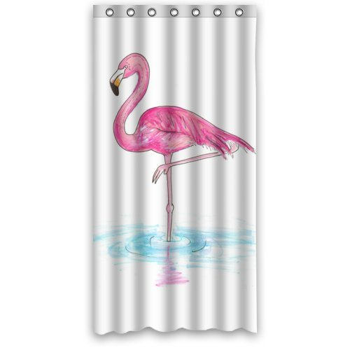 pink flamingo vertical in the water 36 x 72 polyester fabric waterproof shower curtain. Black Bedroom Furniture Sets. Home Design Ideas