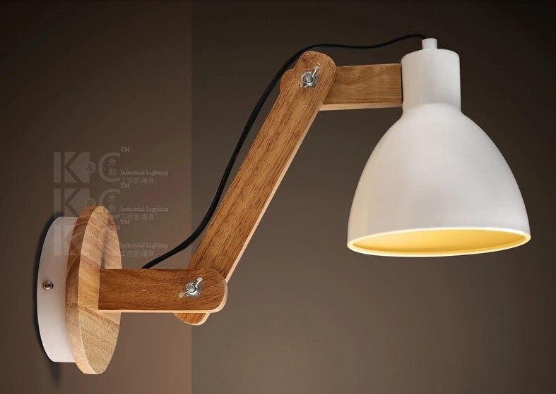 Moderne wand lampe einstellbare arm nacht lesen lampe e holz