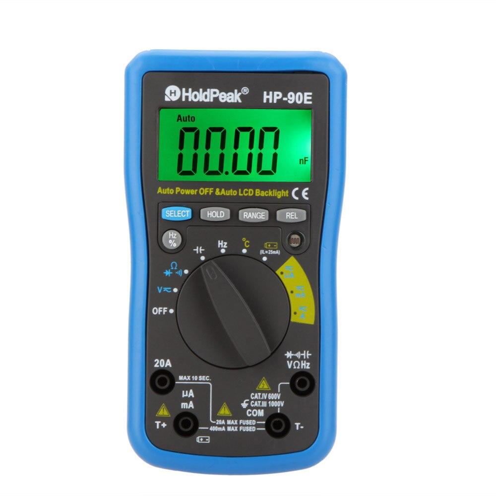 HoldPeak HP-90E Digital Multimeter DMM Cap HZ Temperature Meter Battery TesterAuto Range w/Auto LCD Backlight