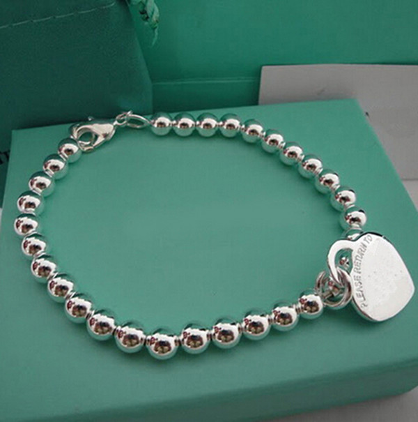 Wholesale brand silver plated Bracelet with heart pendant beads bracelet Tiff letters new york all match jewelry
