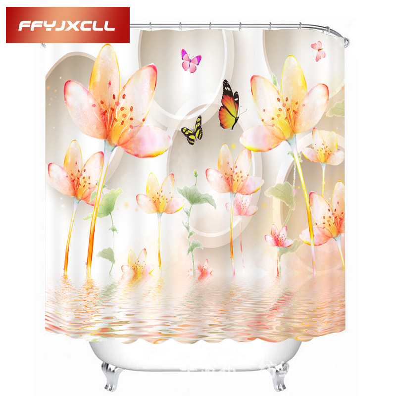 Lotus in Full Bloom Butterfly Printing Polyester Fabric Waterproof Mildew Creative Bathroom Shower Curtain With 12pc Hook