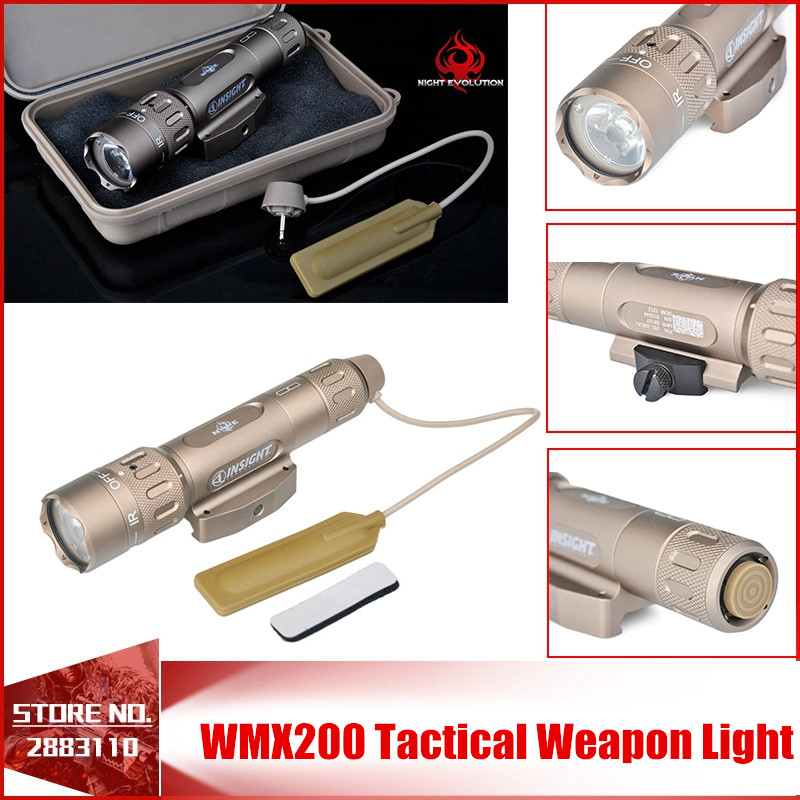 Night Evolution WMX200 Tactical Gun Light Led Flashlight Strobe Remote Tail Switch IR Light for Picatinny Rail Spotlight Hunting night evolution wmx200 tactical gun light led flashlight strobe remote tail switch ir light for picatinny rail spotlight hunting