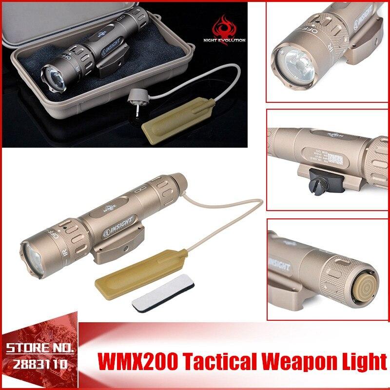 Nuit Evolution WMX200 Éclairage au Pistolet Tactique lampe de Poche Led Stroboscopique À Distance Interrupteur Arrière IR Lumière pour Picatinny Rail Spotlight Chasse