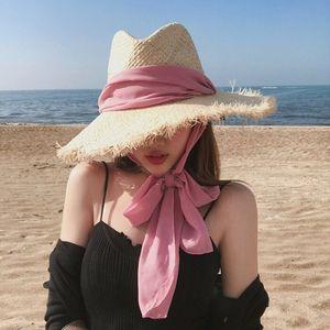 Image 2 - Fait à la main 100% raphia soleil chapeaux pour femmes noir ruban à lacets grand bord chapeau de paille en plein air plage été casquettes Chapeu Feminino