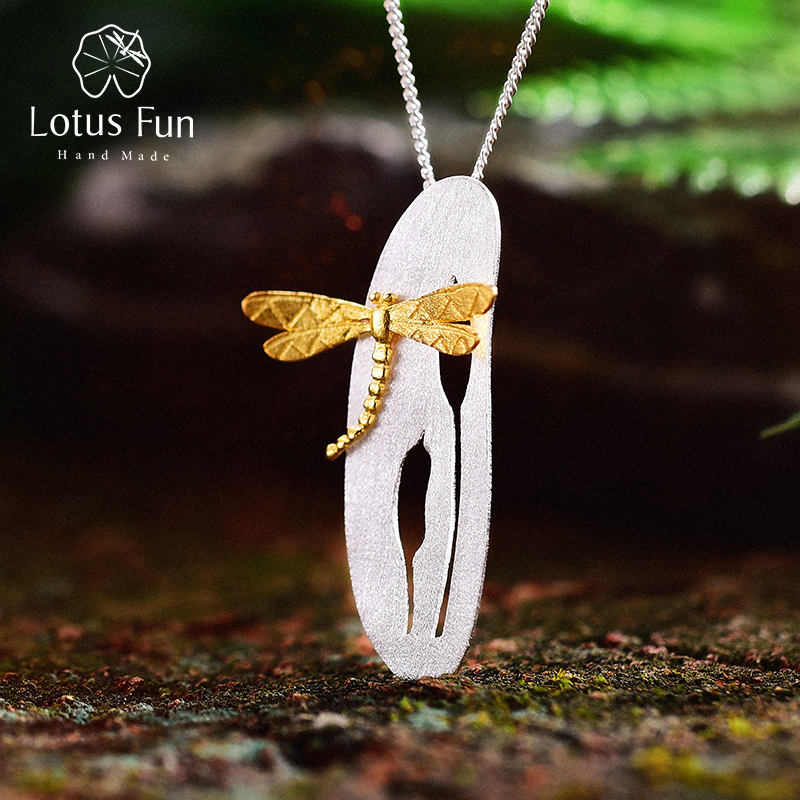 все цены на Lotus Fun Real 925 Sterling Silver Handmade Fine Jewelry Leaf and Dragonfly Design Pendant without Necklace for Women Acessorios