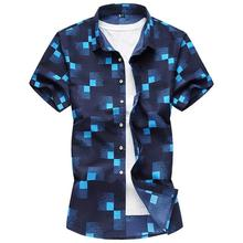 Casual Plaid check Shirt Mens clothing Blouse Men Hawaiian Male Short-sleeved Navy Blue White