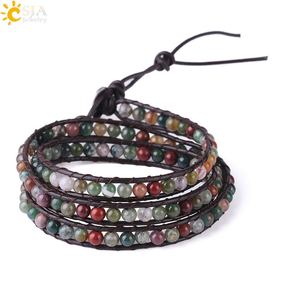 CSJA Triple Leather Bracelet Natural Stone Beads Indian Agates High Quality Boho Wrap Bracelets for Women 7mm Width Bangle S180
