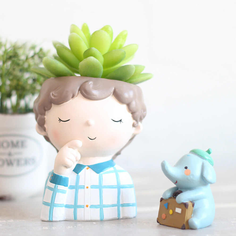 Мини милый мальчик цветочный горшок для выращивания растений домашний сад Украшение Дома Цветочный Горшок Кашпо Настольная Ваза домашний офис Аксессуары горшок для карликового дерева