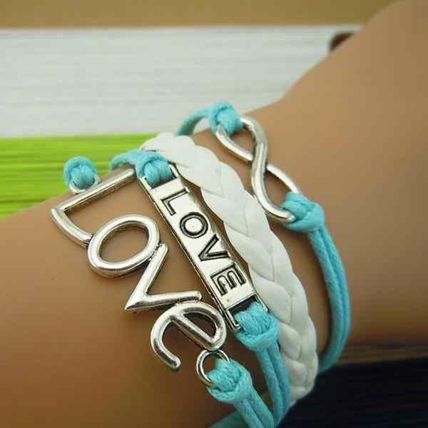 Pulseira de couro artesanal sideway amor carta pulseira infinidade pulseira karma!
