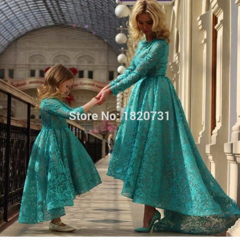 Elegant-Jade-Green-Lace-Evening-Dresses-Long-Sleeves-High-Low-Mother-and-Daughter-Matching-Party-Gown