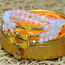 High quality uniuqe design fashion white 6mm round beads opal moonstone long multilayer elastic bracelets for women jewels B2245