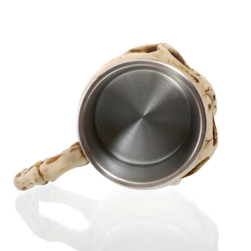 Diseño 3D 350ml cráneo taza 12oz doble pared taza de café taza de té