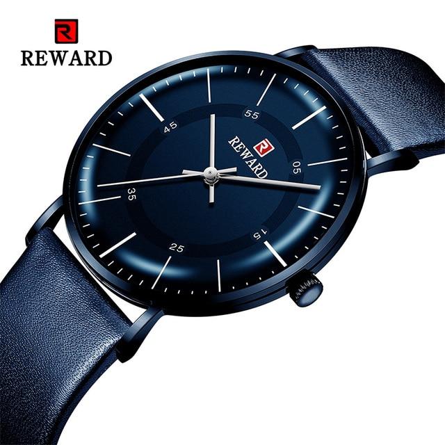 RECOMPENSA de 2019 Novos Homens Da Moda Relógios Top Marca de Luxo Homens Relógio Ocasional Ultrafino À Prova D Água Esporte relógio de Pulso Relogio masculino