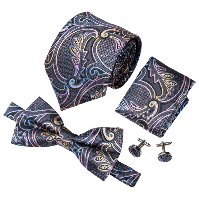c21a1b9e9232 Wang Floral Paisley Silk Jacquard Woven Men Butterfly Self Bow Tie BowTie  Pocket Square