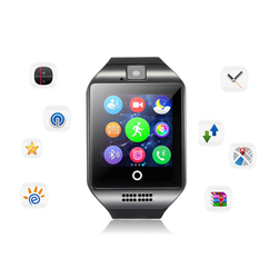 ساعة ذكية بلوتوث الرجال Q18 مع شاشة تعمل باللمس بطارية كبيرة دعم TF بطاقة Sim