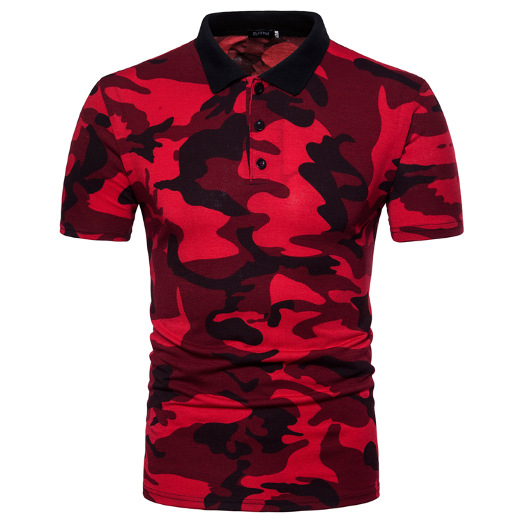 Men's Top Regular Gradient Print Breathable Cotton Short Sleeve 2018 Spring And Summer New Casual Camouflage Polo Shirt 38
