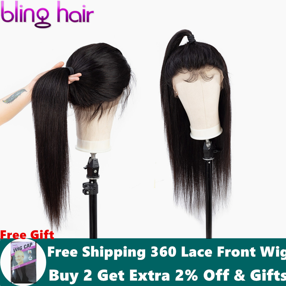 Bling Hair Straight Hair 360 Lace Frontal Wigs Indian Lace Front Human Hair Wigs Pre plucked