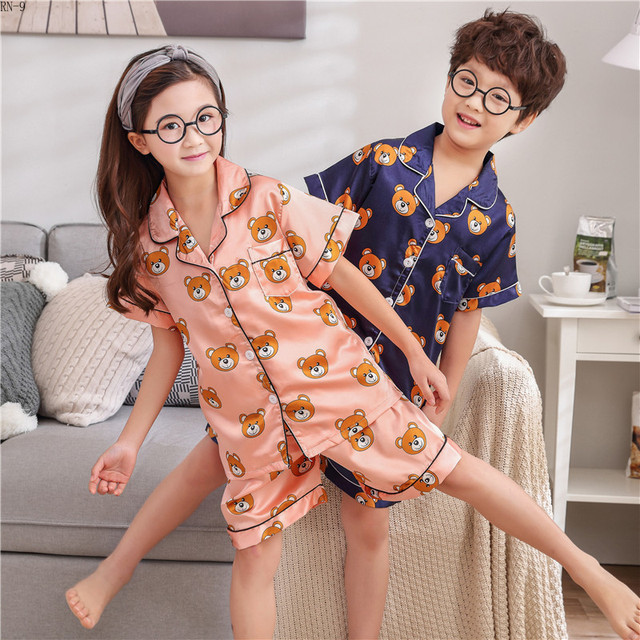 Summer Children Pajamas Suit Silk 2019 Pyjamas Set Boys Short-sleeved Slim Cartoon Satin Baby Home Clothing Kids Pijamas Sets
