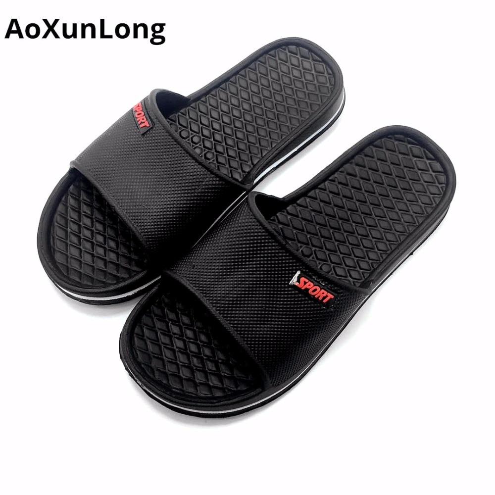 AoXunLong Hot Summer Men Slippers Slide Flat Home Slippers Beach Casual Shoes Men Gray E ...