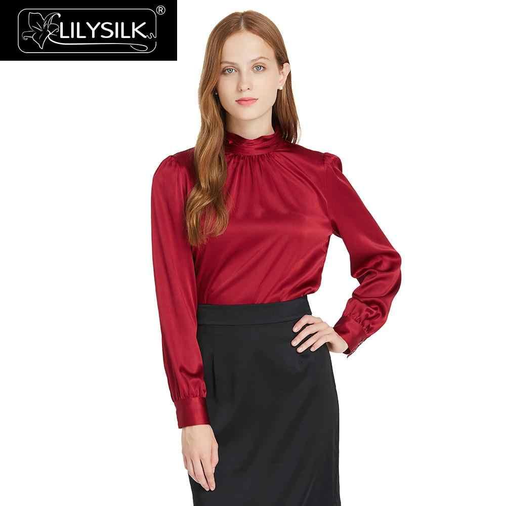 3ee9ab4727 LilySilk Blouse Shirt Women Elegant 19 momme Silk Retro Style Summer Ladies  Free Shipping