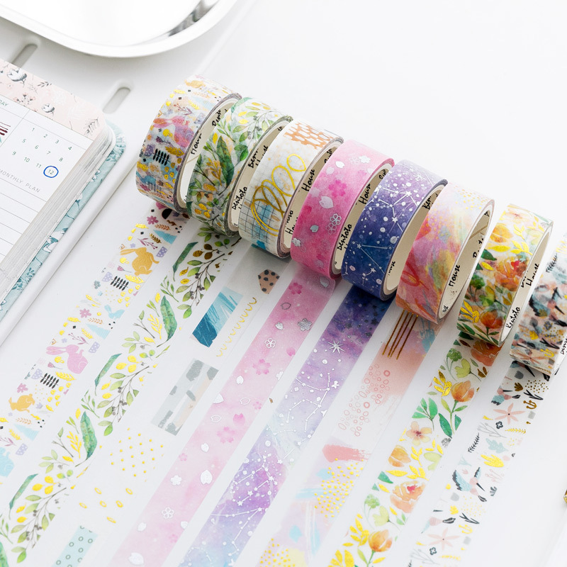 Laser Foil Flowers Animal Japanese Masking Washi Tape Decorative Adhesive Tape Decora Diy Scrapbooking Sticker Label Stationery