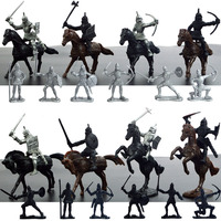 28pc Lot Mini Soldiers Action Figure Toy Medieval Knights Warrior Horse Diy Brinquedos Collection Children Birthday
