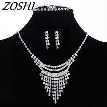 Women Luxury Silver Wedding Prom Bridal Crystal Rhinestone Necklace Earring Bracelet Ring Jewelry Set New 2018 Wholesale Price