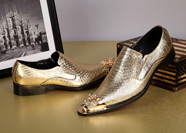 high quality metal toe dress shoes gold