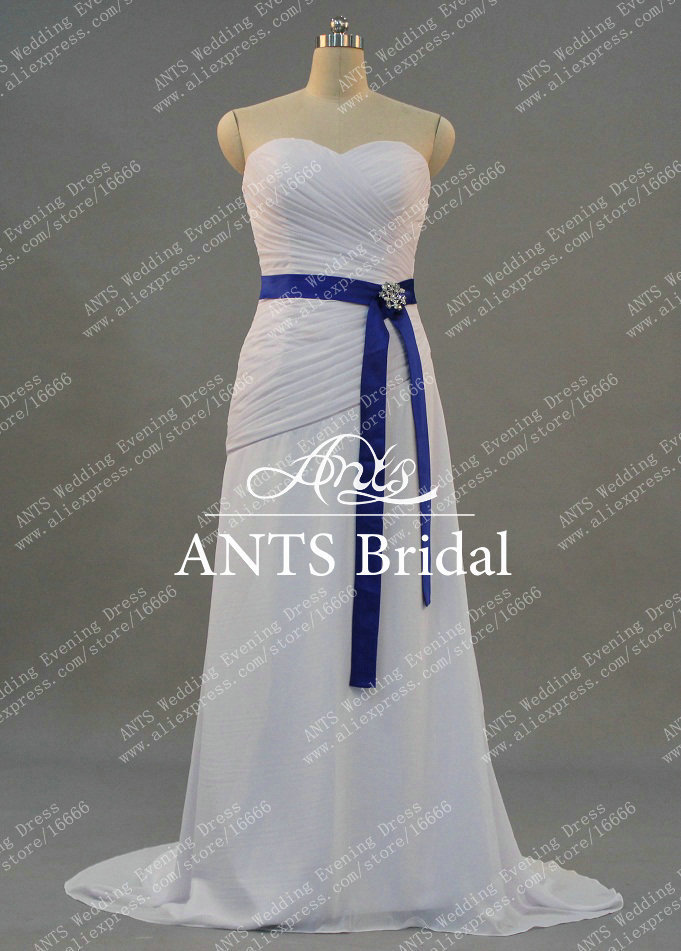 a538e6840c ... White Bridal Dress With Royal Blue Sash Wedding Dress Beach. W1397 (1)  ...