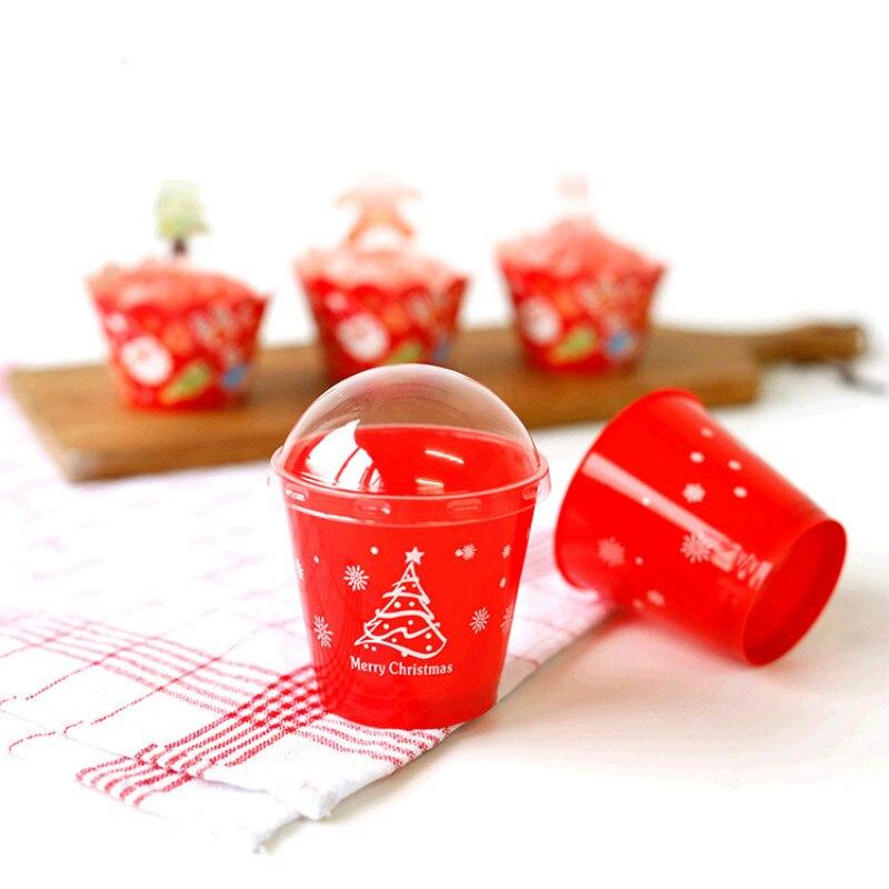 25pcs/lot Christmas Mousse <font><b>Cup</b></font> <font><b>Ice</b></font> <font><b>Cream</b></font> <font><b>Cups</b></font> <font><b>Ice</b></font> <font><b>Cream</b></font> Bowl <font><b>Disposable</b></font> Puding <font><b>Cups</b></font> <font><b>with</b></font> <font><b>Lids</b></font> Wedding Party Supplies